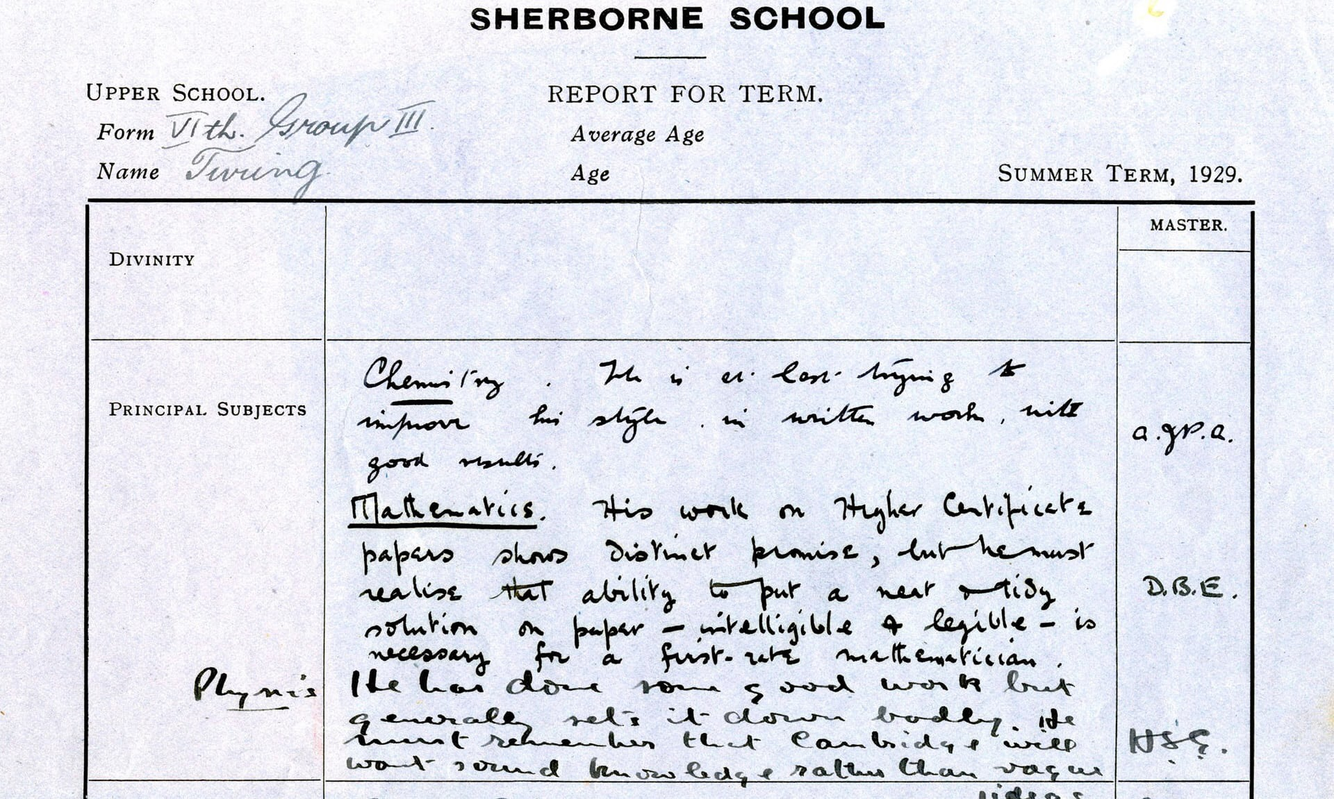 blog mindbox alan turing s school report in 1929 notes his english reading is weak his french prose is very weak his essays grandiose beyond his abilities